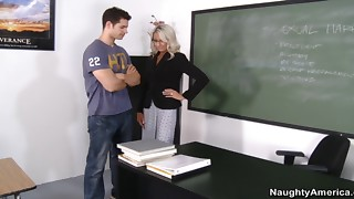 Emma Starr sucks her student's dick before they fuck