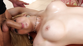 Busty blonde babe gets massage and pussy fucked by masseuse