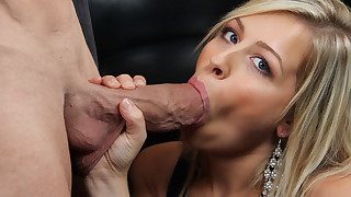 Hot blonde babe gets to fuck her trainer and loves to suck his cock