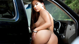 Sexy brunette fucks perfect stranger in the parking lot