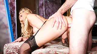 Hot blond tranny sucks and gets her wet ass fucked very hard