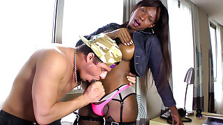 Black shemale from Brazil fuck that guy with her big dick!