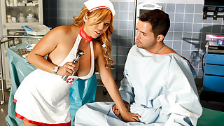 Asian nurse has enormous tits and enjoys fucking on the job!