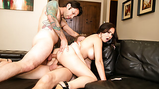Horny Holly West cheats with a big dick and ends up DP'd